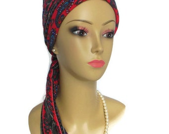 "Multi-colored Paisley Stripes On Red Scarf Turban Jersey 16"" Ties, Volumizer Chemo Headwear, Jersey Knit Cancer Patient Hat, Winter Tichel"