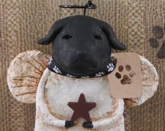 Black Lab Angel, OOAK, handmade from paper mache, BLACK LAB