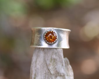 Amber Sterling Silver Oxidized Boho Wide Bank Gypsy Tribal Orange Statement Ring