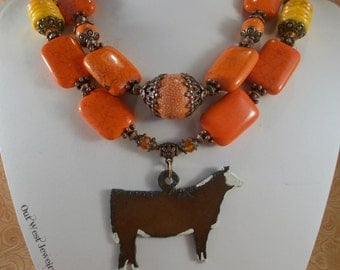 Cowgirl Western Necklace Set - Chunky Orange Howlite Turquoise - Hereford Show Heifer Pendant