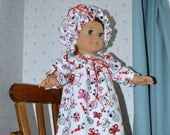 18 Inch Doll Clothes Flannel Long Nightgown Sleepwear and Matching Puff Hat by SEWSWEETDAISY