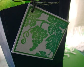 Grapevine gift tags, hand printed linoleum block print, set of 6