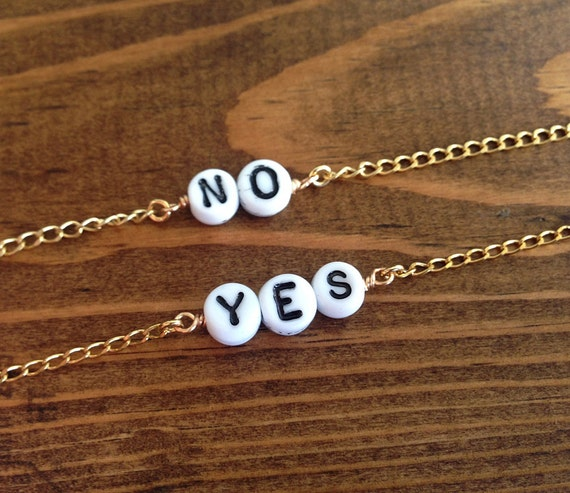 YES - NO - Glass Beaded Word - Anklet - Choker - Necklace - You Choose