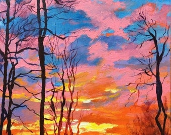 "Original Acrylic Landscape painting-  Sunset in Iowa -   12"" x 12"""