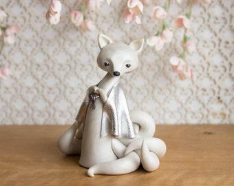 Kitsune Fox Guardian - White Nine-tailed Kitsune Fox by Bonjour Poupette