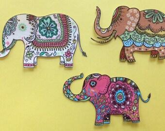 Set of 3 Indian ELEPHANT Appliques*Handmade*Very RARE Timeless Treasures Fabric/23
