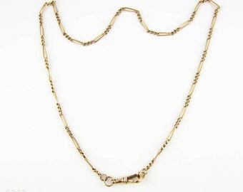 Antique 9 Carat Gold Chain Necklace, Heavy 10.75 gram Figaro Link 49.5 cm / 19.5 inch Chain With Dog Clip, Circa Late Victorian 1800s.