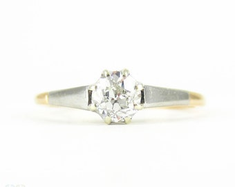 Antique Diamond Engagement Ring, 0.42 ct Old Mine Cut Diamond in Two Tone Classic Solitaire Setting. Circa 1880s, 18ct Gold.
