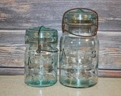 Set of Two Aqua Atlas E-Z Seal Mason Wire Side Canning Jars, One Quart and One Pint Jar.