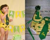 Baby Boy's First Birthday Cake Smash Set, John Deere Tractor, Photo Prop