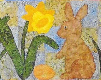 Quilt Pattern, Applique Pattern, Hop Into Spring, Easter Table Runner, Spring Decor, Bunnies and Eggs, Daffodils, PATTERN ONLY
