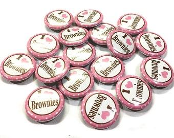 """I Love Brownies, 1"""" Button, Brownie Pin, Brownie Pinback, Brownie Flatback, Brownie Decor, Brownie Gift, Brownie Birthday, Brownie Badges"""