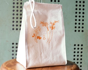 Lunch bag - Lunch Box - Lunch Tote - Reusable Lunch Bag - Screen Printed Lunch Bag - Canvas Tote Bag - Lunch Sack - Peas and Carrots Tote