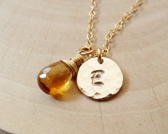 Personalized Initial with Birthstone Necklace. Any 1 birthstone Charm. Gold or Silver.Yellow Citrine necklace. November birthstone necklace.