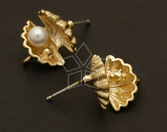 SI-327-MG / 2 Pcs - Tiny Pearl Shell Stud Earrings, Matte Gold Plated over Brass Body with, 925 Sterling Silver Post / 12mm x 13mm