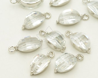 PD-1260-OR / 2 Pcs - CZ Bean Charm Pendant, Coffee Bean Pendant, Silver Plated over Brass / 7mm x 15mm