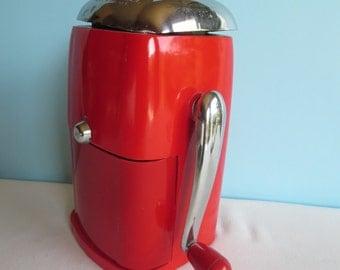Vintage Ice Crusher - Ice-O-Mat - Retro Red Ice Crusher