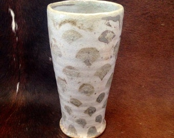 Handcrafted Ceramic Tumbler, Tall Handmade Pottery Tumbler with Fish Scale Pattern, Wood Fired Cup,  Rustic Water Glass, Grey and White.