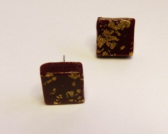 Burgundy Stud Earrings Burgundy Post Earrings Square Stud Earrings Square Post Earrings Wine Stud Earrings Wine Post Earrings
