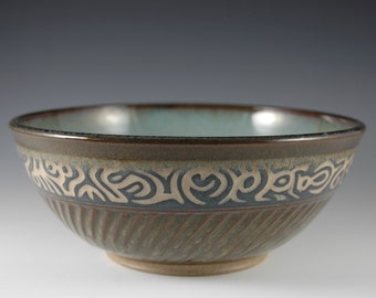 "10"" Brown Art Pottery Serving Pasta Salad Bowl by Douglas Bechler"