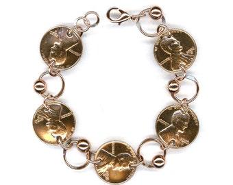 1956 Penny Coin Beaded Bracelet 61st Birthday Gift Jewelry 1956 Gift Women