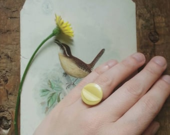 Yellow Cocktail Ring Made From a Vintage Button, Retro Statement Ring, Eco Friendly Jewelry for Women