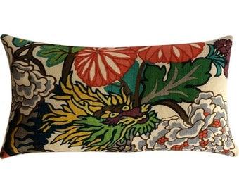 Chiang Mai Alabaster Lumbar Pillow Cover -  12 x 22 inch - Schumacher Pillow - Decorative Pillow - floral - ready to ship