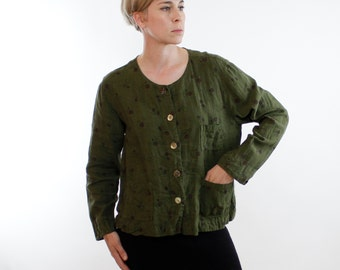 Vintage 80's / 90's linen jacket, deep army green, circle pattern, 3 pockets, seashell buttons, loose casual fit- Medium / Large