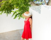 Short Red Linen Dress / Summer Dress / Pure Linen / Crinkled Linen / Boho Beach Dress / Hand Made