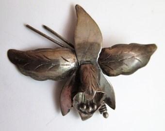 VTG  Mexico 925 Silver Brooch Eagle 2 Signed RUIZ Orchid Flower Pin 3.8 Gr