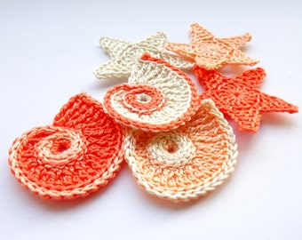 Sea shells applique - crochet sea stars applique - Beach wedding decoration - beach party decor - peach pink sea shells and stars - set of 6