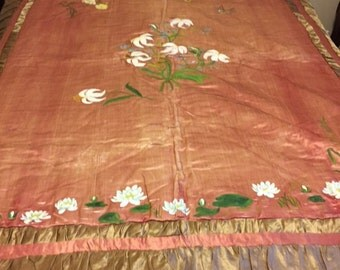 x Silk Bed Cover Antique Hand Painted Pink and Taupe/Wall Hanging (FF0916-01L)