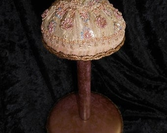 x ON HOLD Designer Made Hat Stand of all Vintage Millinery Accents, bullion trim, Mauve & Taupe (FF052716-07L)