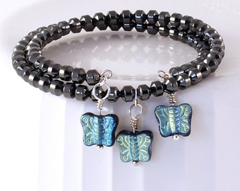 Hematite Bracelet - Butterfly Jewelry, Czech Glass Beads, Turquoise Blue / Teal Blue Finish on Jet Black Glass