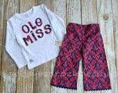 Ole Miss Rebels girls pants and tee set