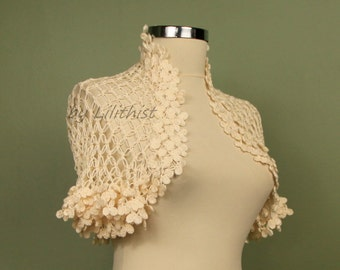 Cotton Ivory Shrug, Crochet Bolero Shrug, Wedding Bridal Shrug Bolero, Cape, Cover Up, Women Fashion, Evening Shrug, Bridal Accessories