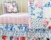 Porcelain Blue, Ivory White, and Petal Pink Floral Crib Bedding, Baby Bedding Set in Vintage Rose and Damask for a Custom Nursery