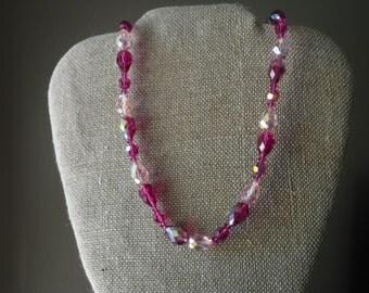 Vintage Pink Aurora Borealis Glass Crystal Necklace//F51
