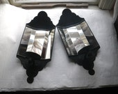 """Wall Candle Sconce Pair Black Tin 5 Panel Mirror 17"""" x 7.5"""""""