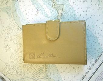 Anne Klein Leather Wallet Buff Beige Kiss Lock Metal Clasp Coin Purse 1980s