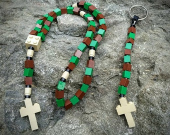 First Communion Gift Special-Lego Rosary and Lego Chaplet - The Original Catholic Lego Rosary - Green and Brown