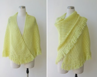 25% off Sale. 1970s vintage hand knitted crochet boho shawl, Chartreuse yellow gypsy wool shawl