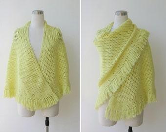 1970s vintage hand knitted crochet boho shawl, Chartreuse yellow gypsy wool shawl