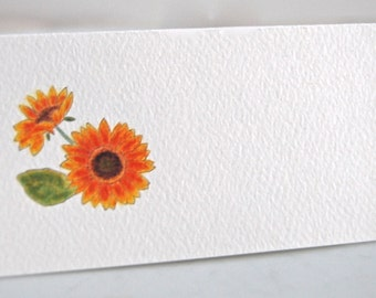 Sunflower Tented Name Place Cards 10 Personalized Event Name Place Seating Cards or 12 Blank
