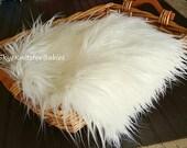 Ivory Mongolian Faux Fur Fabric, Newborn Photo Prop, Faux Fur Prop, Baby Photo Prop, Basket Filler, Basket Stuffer, Craft Fur, Ready to Ship