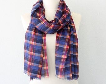 Plaid summer scarf Soft shawl Check scarf tartan large shawl lightweight summer scarves Blue red checked scarf swimsuit cover up pareo