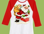 Vintage Santa, santa chiminy with toys, Santa Shirt, Christmas Shirt, Red Sleeve,  Raglan shirt, Holiday TShirt by ChiTownBoutique.etsy