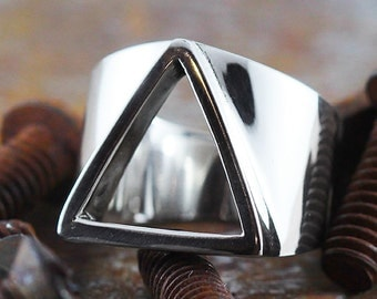 Mens Sterling Silver Ring Open Triangle Personalize Man Rings