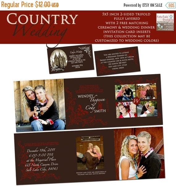 SALE INSTANT DOWNLOAD - Country Wedding 5x5 Tri-fold Wedding Announcement- Free dinner and sealing cards - on whcc and Pro Digital Photos sp