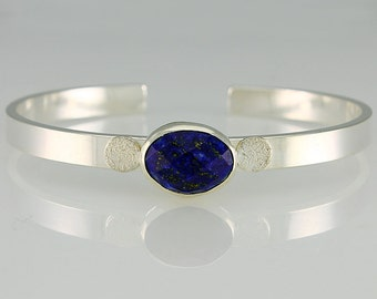 Handmade Sterling Silver and Faceted Lapis Lazuli Cuff Bracelet Medium Medium Large Unisex Natural Stone Contemporary Design 8324535492815